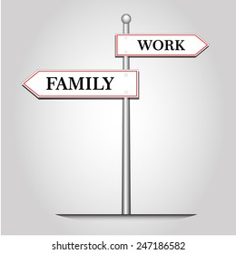 Abstract guidepost selection between work and family,vector and illustration