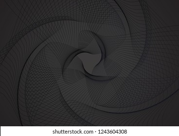 Abstract guilloche pattern (vector complicated black line texture). Blank background useful for business layout, backdrop for design project certificate, diploma, official document, formal paper