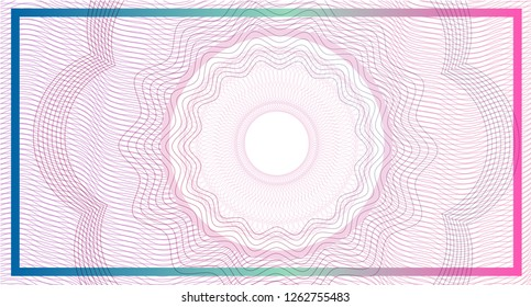 Abstract Guilloche Style Background. Use for banknote, diploma, certificate, note, currency, voucher or money design