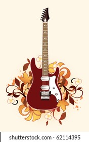 Abstract with guitar and floral elements