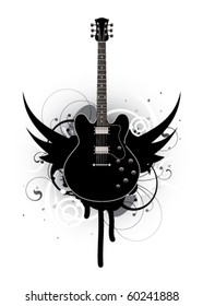 Abstract with guitar and wings