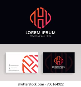 Abstract H logo linear rhombus sign with brand business card vector design.