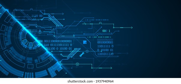 Abstract half-circle technology circuit board. Communication concept.