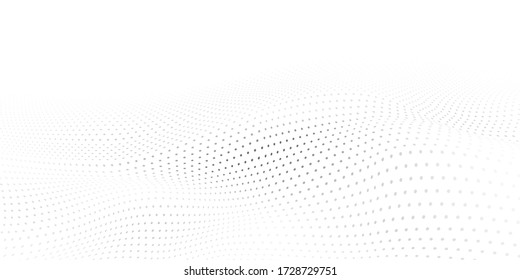 Abstract halftone background with wavy surface made of gray dots on white