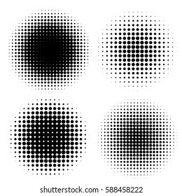abstract halftone circle shapes set. Design elements