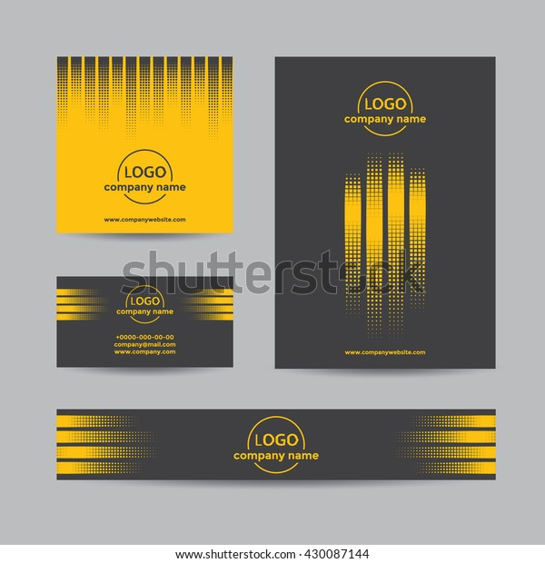 Abstract halftone corporate set of business card, cover, and banner. Vector yellow and black background for company branding with dots.