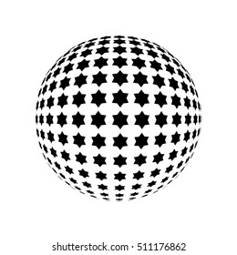Abstract Halftone effect surface. Star of David vector illustration. Black dots on white background. Geometric pattern. Black Jewish stars on white background.