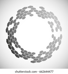 Abstract halftone effect vector background. Background of hexagons. Graphic template for illustrations.