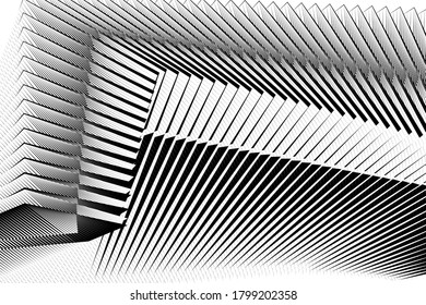 Abstract halftone lines background, modern design, geometric dynamic pattern, vector black and white texture for card, cover, poster, decoration.