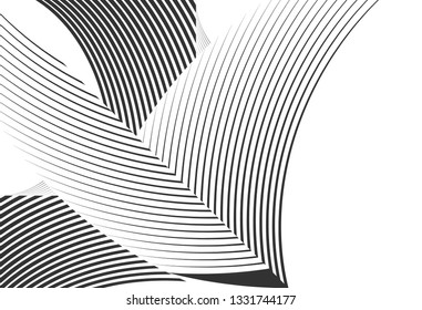 Abstract halftone lines background, trendy geometric black and white pattern, vector modern design texture.