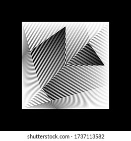 Abstract halftone lines black and white background, geometric dynamic pattern, vector modern design texture for card, cover, poster, decoration.