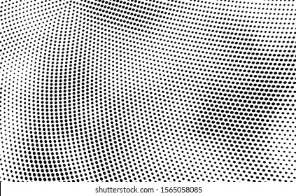 Abstract halftone monochrome. Chaotic wave of dots. Gradient texture black and white