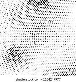 Abstract halftone radial dotted background. Futuristic twisted grunge pattern. Vector pop art texture for posters, business cards, cover, labels mock-up, stickers layout