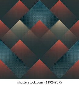 Abstract halftone shapes colorful geometric seamless pattern. Vector.
