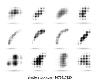 Abstract halftone shapes. Liquid shape with dotted halftones gradient texture, pop art and comic graphic dots vector set. Illustration dot gradient, fluid flex wave effect