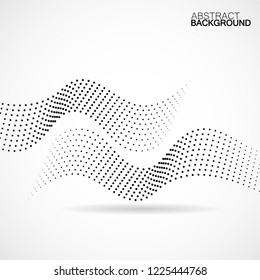 Abstract halftone wave, dotted background. Vector