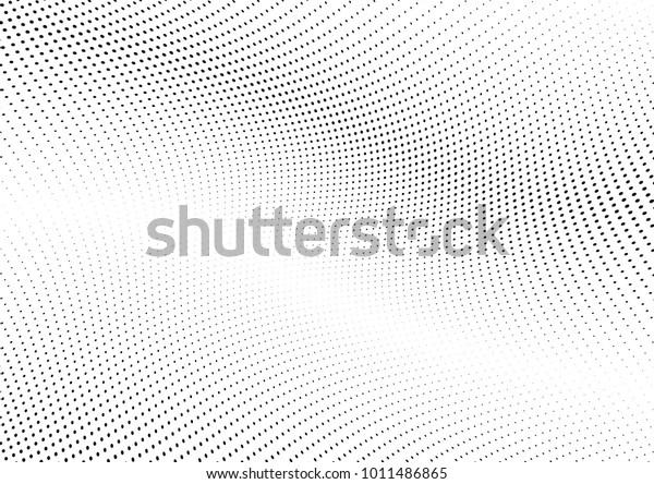 抽象的なハーフトーン波のドット背景。未来的なねじれたグランジパターン、点、円。 ポスター、名刺、表紙、ラベルのモックアップ、ステッカーレイアウト用のベクターモダンな光学ポップアートテクスチャー