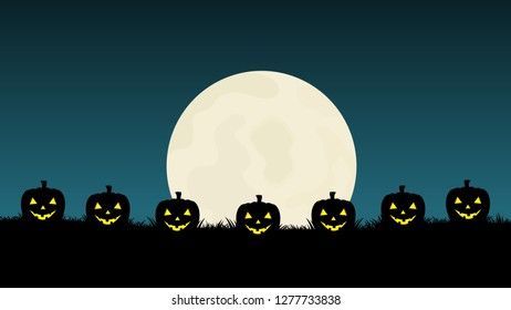 Abstract Halloween background with pumkin and moon. Vector illustration.