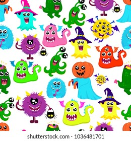 Abstract halloween seamless pattern for girls or boys. Creative vector pattern with a many bright monsters, pumpkin, one-eyed, halloween. Funny halloween monster pattern. Fashion halloween style.