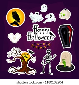 Abstract halloween stickers for girls,boys, children, happy hallowen. Creative halloween badge with coffin, ghost, spook, skeleton, grave, tree. Funny wallpaper for textile and fabric. Fashion badge