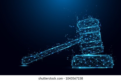 Abstract Hammer judge form lines and triangles, point connecting network on blue background. Illustration vector