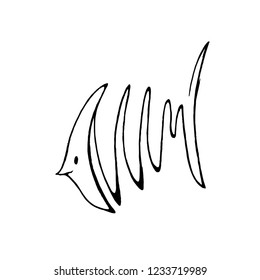 Abstract hand drawing of fresh water fish in line art style.