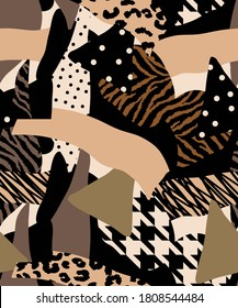 Abstract Hand Drawing Geometric Patchwork with Zebra Leopard Animal Skin Hounds Tooth Shapes Seamless Vector Pattern Colorful Background