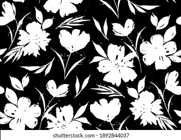 Abstract Hand Drawing Tropical Exotic Flowers Poppies Peonies and Leaves Repeating Vector Pattern Isolated Background
