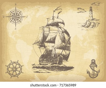 Abstract hand drawn background with vintage sailing ship, compass, lighthouse, ship wheel, anchor and world map on old paper texture. Template for your design works. Vector illustration.