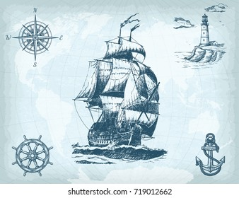 Abstract hand drawn background with vintage sailing ship, compass, lighthouse, ship wheel, anchor and world map on old craft paper texture. Template for your design works.