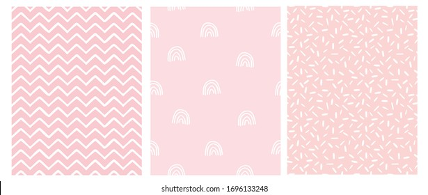 Abstract Hand Drawn Childish Style Seamless Vector Patterns. White Rainbows, Chevron and Spots on a Various Pink Backgrounds. Simple Irregular Geometric Vector Prints. Pastel Color Design.