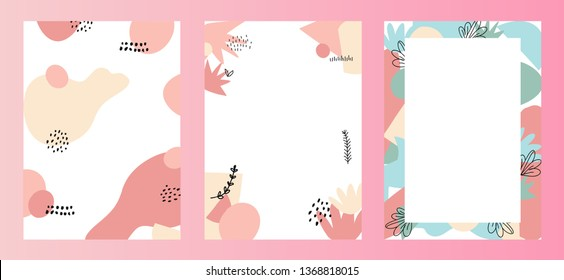 Abstract hand drawn colorful modern shapes background with empty text space.Vector artistic illustration for ad, banners, landing,cards, promotion, advertising,poster,web