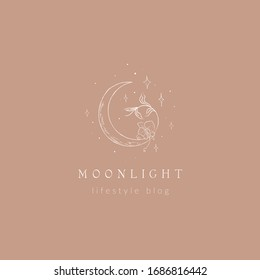 abstract hand drawn crescent moon logo with stars, orchid flower and leaves. icon, vector illustration in trendy line linear art style. Branding