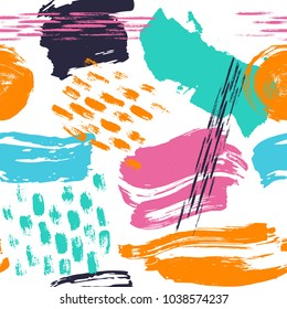 abstract hand drawn different shapes brush strokes seamless pattern swatch print