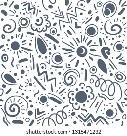 Abstract hand drawn doodle geometric elements vector seamless pattern for textile, wallpaper, background.