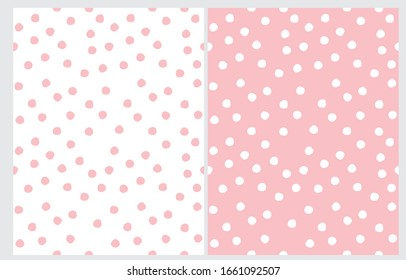 Abstract Hand Drawn Dotted Seamless Vector Patterns. WhiteDots Isolated on a Light Pink Background. Pink Polka Dots on a White Layout. Simple Geometric Irrgeular Vector Prints.