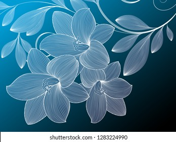 Abstract  hand drawn floral pattern with lily flowers. Vector illustration.