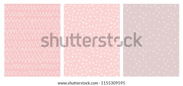 Abstract Hand Drawn Geometric Childish Style Vector Pattern Set. White Waves, Arches and Dots on a Various Pink Backgrounds. Cute Irregular Geometric Seamless Vector Pattern.