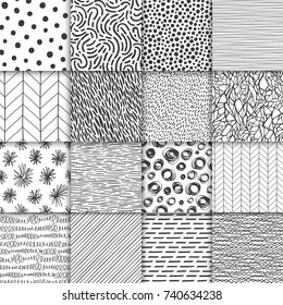 Abstract hand drawn geometric simple minimalistic seamless patterns set. Polka dot, stripes, waves, random symbols textures. Monochrome black and white vector illustration. Template for your design