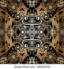 Abstract hand drawn graphic pattern, floral and geometric ornament, seamless texture, gold on black vector illustration