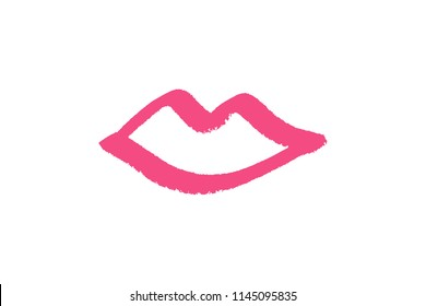 Abstract hand drawn lips, brush lines, beauty object, attraction symbol. Logo element, label, print for clothes and other, element for design. Vector Illustration, clipart.