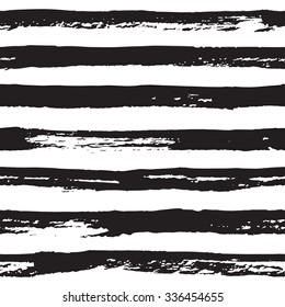 Abstract hand drawn paint lines seamless vector pattern white and black