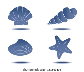 abstract hand drawn seashell symbols for design vector set