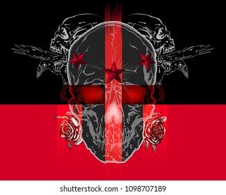Abstract hand drawn vector illustration of skulls with crows, star studs and roses on black and red background.