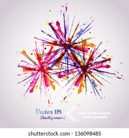 Abstract hand drawn watercolor background firework ,vector illustration, stain watercolors colors wet on wet paper. Watercolor composition for scrapbook elements. Celebration card.