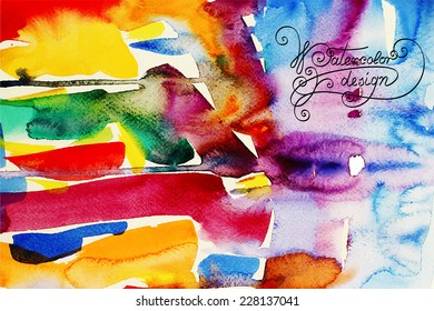 abstract hand drawn watercolor background, aquarelle colorful texture, decoration design element, vector illustration