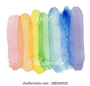 Abstract hand drawn watercolor background.  Vector texture element. rainbow watercolor