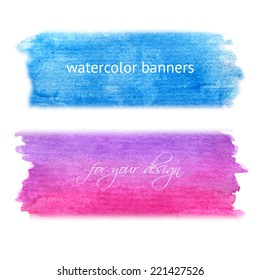 Abstract hand drawn watercolor banners for background