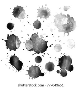 Abstract hand drawn watercolor blots set. Artistic vector design elements. Vector illustration.