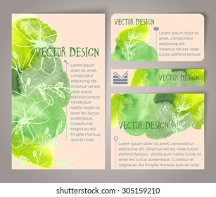 Abstract hand drawn watercolor cards. Vector illustration
